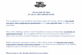 TO CLASS OF 2021: 23rd JULY 2021 GRADUATES